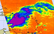 Infrared AIRS image of Kyle on Sept. 22, 2008