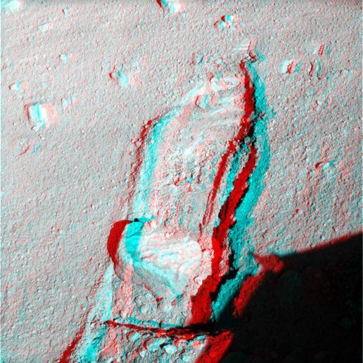 Rock Moved by Mars Lander Arm, Stereo