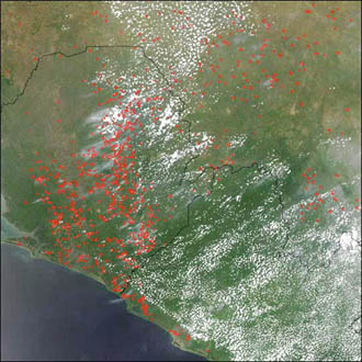 Fires in West Africa burn from November 2002 to March 2003.