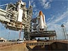 The space shuttle Atlantis on the launch pad