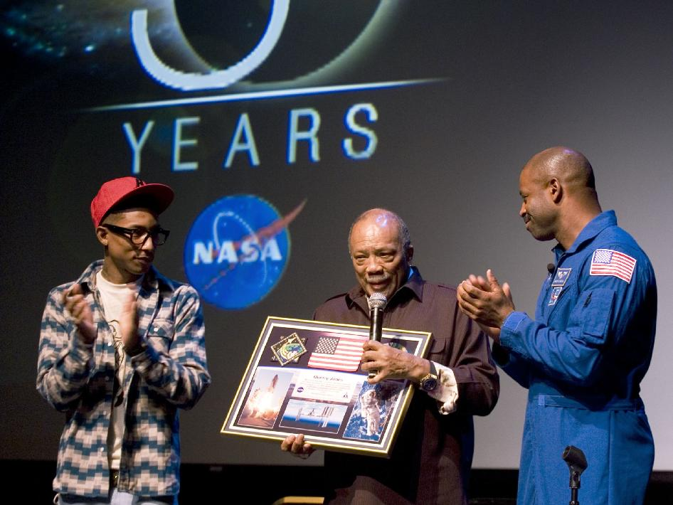 Pharrell Williams, Quincy Jones and Leland Melvin