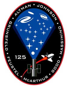 The STS-125 patch depicts the Hubble, the shuttle, stars and galaxies, and the names of the crew members