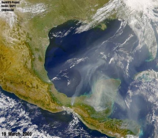 Usually dry and hot conditions in Central America and Mexico resulted in many fires throughout the region during the 2003 dry season.