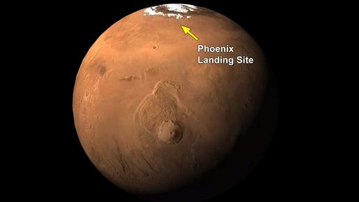 Phoenix Landing Site Indicated on Global View