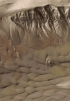 Mars Global Surveyor Mars Orbiter Camera captured this image of gullies in a crater at 42.4 degrees S, 158.2 degrees W