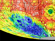 Lunar topography image of Aitken Basin