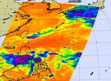 AIRS image of Jangmi and Higos from Oct. 2, 2008