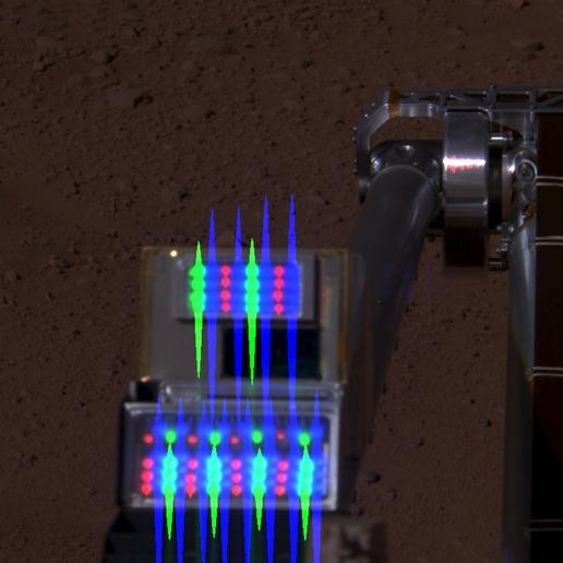 Robotic Arm Camera on Mars with Lights On