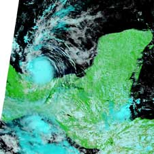 MODIS image of Tropical Storm Marco on Oct. 7, 2008