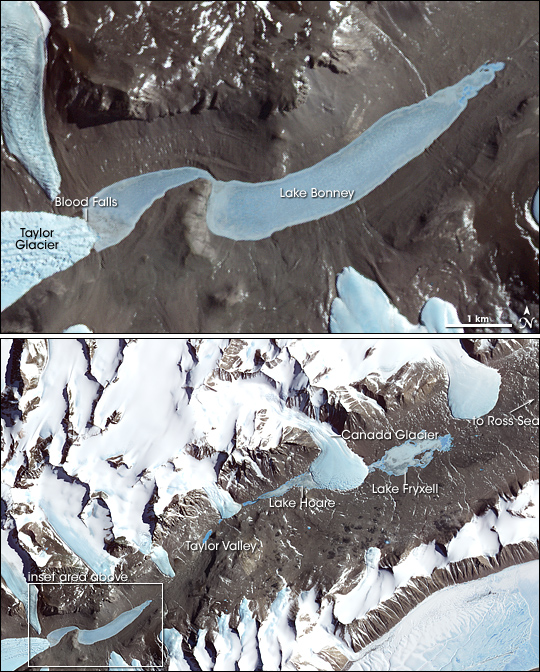 Satellite image of Blood Falls in Antarctica