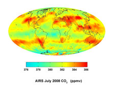 map showing large scale patterns of carbon dioxide concentrations that are transported around the Earth by the general circulation of the atmosphere