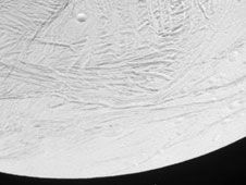 close-up view of Enceladus, Oct. 9, 2008 flyby
