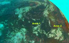 GOES image of two Atlantic storm areas on October 10, 2008.
