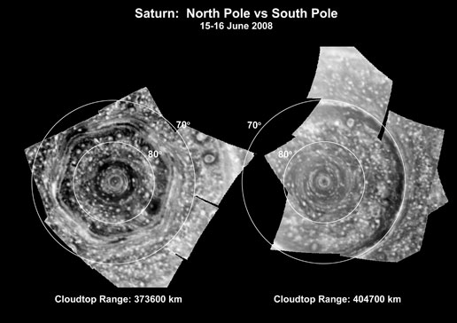 side-by-side view of large cyclones at both poles of Saturn
