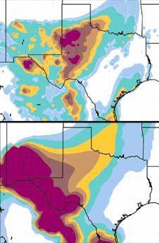 A computer model that incorporates NASA satellite data results in a more refined depiction of a dust storm shown above, when compared to a model lacking the NASA data shown below.