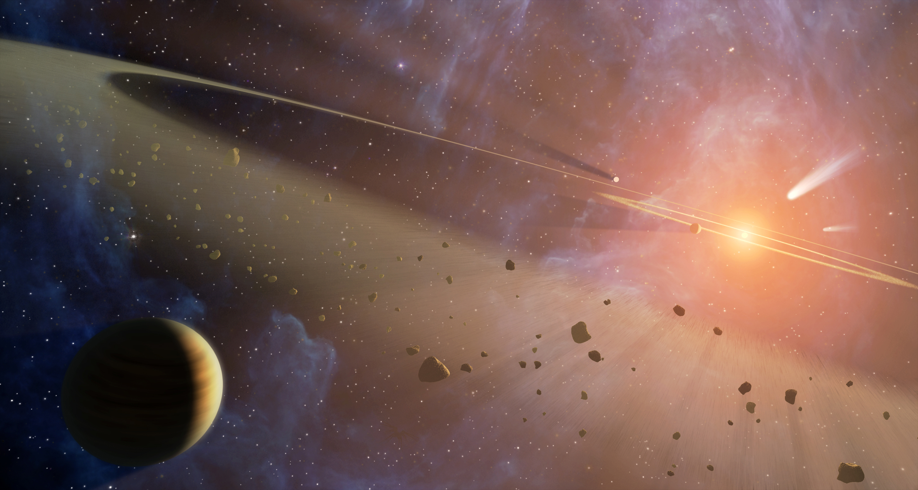 This artist's conception shows the closest known planetary system to our own, called Epsilon... [+] Eridani. Observations from NASA's Spitzer Space Telescope show that the system hosts two asteroid belts, in addition to previously identified candidate planets and an outer comet ring. Image credit: NASA/JPL-Caltech