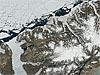 Satellite view of the fractured Serson Ice Shelf
