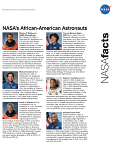 Front of the NASA's African-American Astronauts Fact Sheet