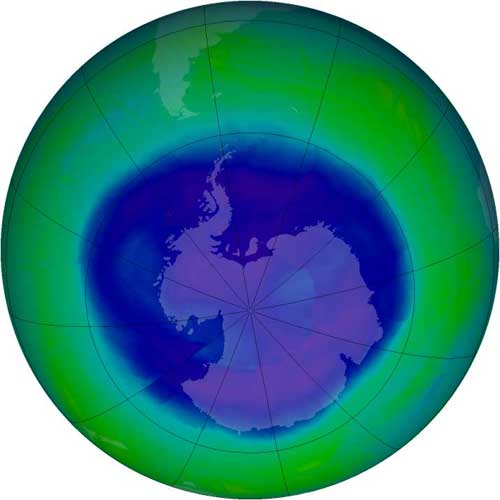 Ozone hole maximum on September 12, 2008.