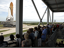 Kennedy visitors watch as Endeavour is moved to Pad A