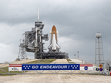 Endeavour stands tall on Pad A