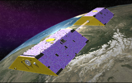 Artist concept of GRACE satellites