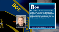 A close-up view of the name Boe on the STS-126 mission patch and a photo of Eric Boe