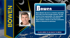 A close-up view of the name Bowen on the STS-126 mission patch and a photo of Steve Bowen