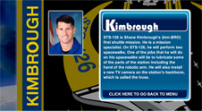 A close-up view of the name Kimbrough on the STS-126 mission patch and a photo of Shane Kimbrough