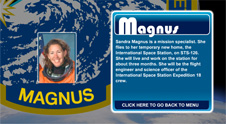 A close-up view of the name Magnus on the STS-126 mission patch and a photo of Sandra Magnus