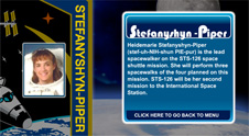 A close-up view of the name Stefanyshyn-Piper  on the STS-126 mission patch and a photo of  Heidemarie Stefanyshyn-Piper