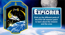 STS-126 mission patch with the names of the crew surrounding the space shuttle and space station above Earth