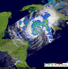 TRMM image of Paloma on Nov. 7, 2008