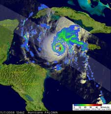 TRMM image of Paloma from Nov. 7, 2008