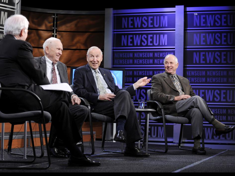 From left to right: Nick Clooney, Frank Borman, James Lovell and William Anders.