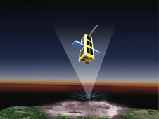 The firefly satellite in air.