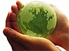Hands holding a green globe