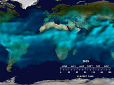 Still from animation showing global distribution of atmospheric water vapor