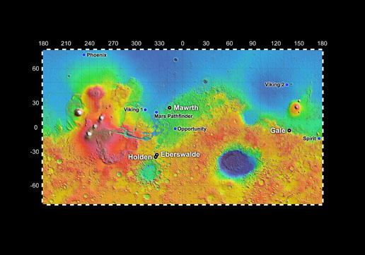 four potential landing sites for Mars Science Lab