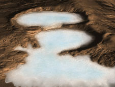 artist concept of glacier on Mars