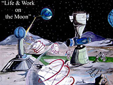 A painting of spacecraft and facilities on the moon