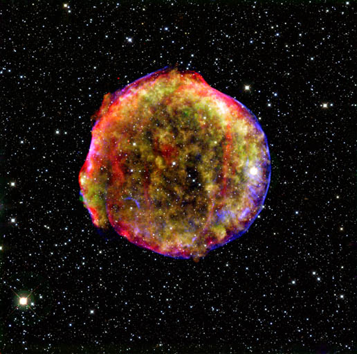 composite image of the Tycho supernova remnant
