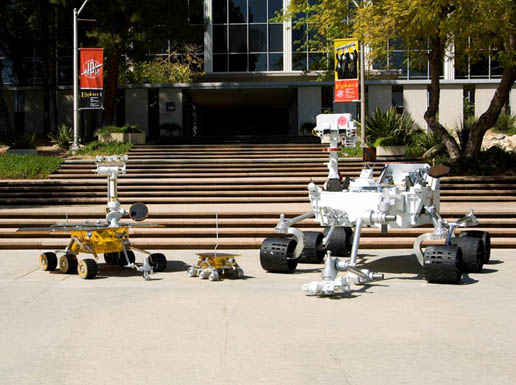 three rover models - Mars Exploration Rover, Sojourner and Mars Science Lab