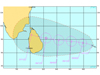 Current and future forecast positions of Tropical Cyclone 07B, heading toward Sri Lanka