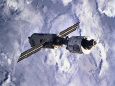 The Zarya and Unity modules in space after being joined by the STS-88 crew.