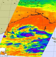AIRS infrared image of Tropical Cyclone 07B on December 5, 2008
