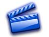 Blue video clapboard