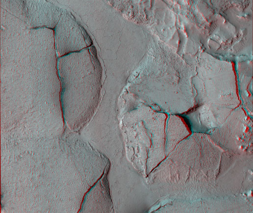 stereo view shows fractured mounds on the southern edge of Elysium Planitia on Mars