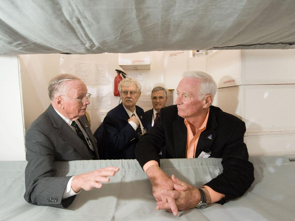 Foreground: Neil Armstrong and Eugene Cernan. Background: Wayne Ottinger and Harrison Schmitt.
