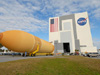 External Tank 130 rolls toward the Vehicle Assembly Building at NASA's Kennedy Space Center in Florida.